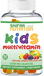 SHIFAA NUTRITION Halal & Vegetarian Gummy Vitamins for Kids | 13 Vitamins, Minerals & Antioxidants for Children | Natural ...