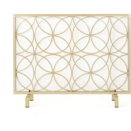 Christopher Knight Home Valeno Single Panel Iron Fireplace Screen, Gold