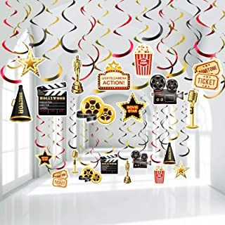 Hollywood Movie Theme Party Hanging Swirls, Lights Camera Action Movie Night Party Black Gold Foil Swirl Decorations for H...