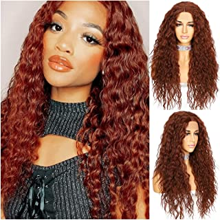 Sapphirewig Synthetic Lace Front Wigs Brick Red Color Long Deep Wave Curly Wig With Deep T part 150% Density Hairline Natu...