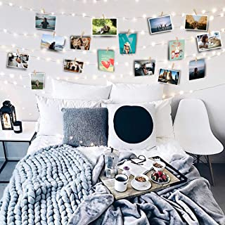 FavFactory 17ft Photo Clip String Fairy Lights - 40 LED Lights - 40 Transparent Clips Hanging Pictures - USB Powered - 6 Sticky Wall Hooks - Perfect Dorm Bedroom Wall Decor Wedding Decorations