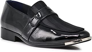JY2N Men's Satin Metal Silver Tip Oxfords Dress Shoes Stripes Church Wedding Party Groomsmen Oxfords Dress Shoes