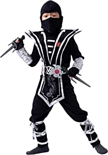 Silver Ninja Deluxe Costume Set with Ninja Foam Accessories Toys for Kids Kung Fu Outfit..