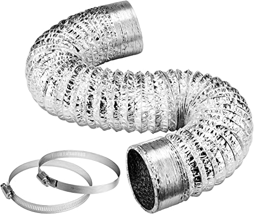 lowest VIVOSUN 4-Inch 25-Ft. Non-Insulated Flexible Aluminum online sale Air Ducting for HVAC Ventilation w/Two 4-Inch online Stainless Steel Clamps outlet online sale