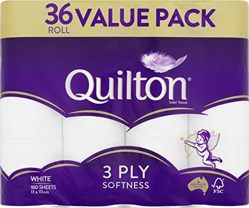 Quilton 3 Ply Toilet Tissue (180 Sheets per Roll, 11x10cm), Pack of 36 product image