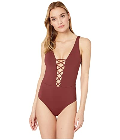 Seafolly Active Lace-Up Maillot (Plum) Women