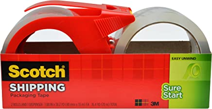 Scotch Sure Start Shipping Packaging Tape, 1.88 x 38.2 Yards, 2 Rolls and 1 Dispenser (3450S-2-1RD)