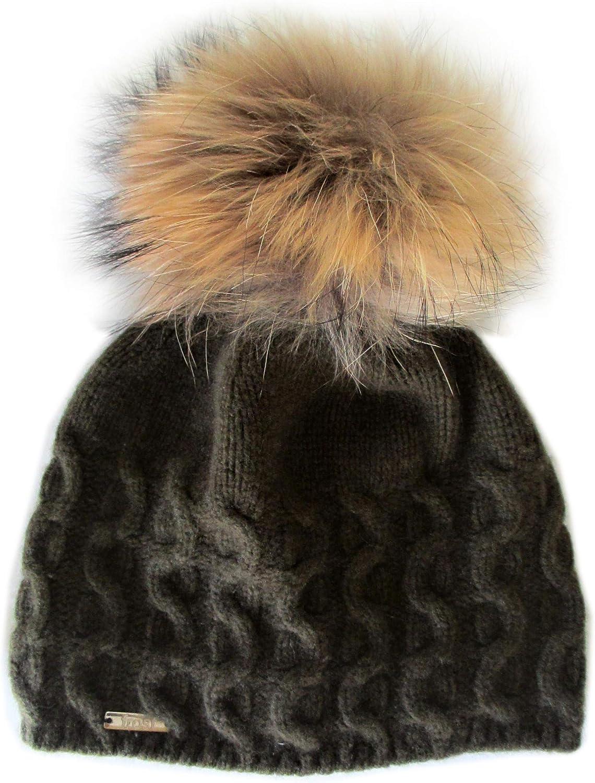 Frost Hats Cashmere Cable Hat with Detachable Genuine Fox Fur Pom CSH735SRN