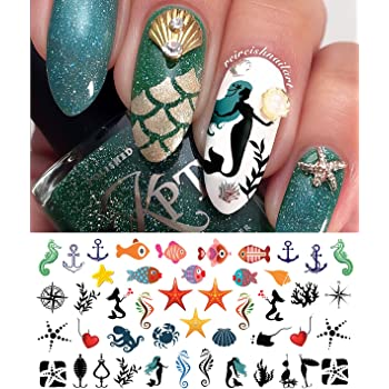 Amazon Com Nautical Nail Art Waterslide Decals Set 2 Fishing Lures Mermaids And More Salon Quality Beauty