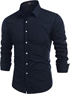 Coofandy Men's Casual Linen Cotton Shirt Long Sleeve Embroidered Button Down Shirts