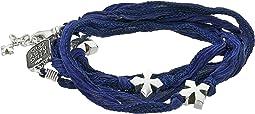 King Baby Studio - Multi Wrap Indigo Silk Bracelet with Crosses