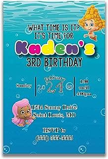 bubble guppies custom birthday invitations