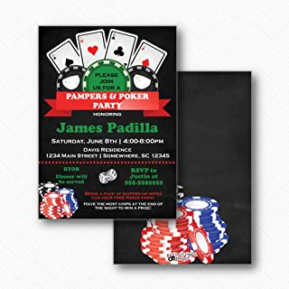 Pampers & Poker Baby Shower Invitations | Envelopes Included