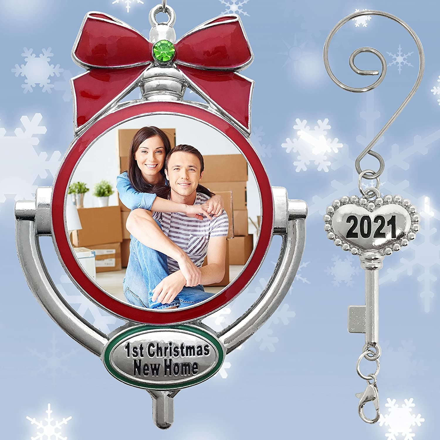 First Christmas in Our New Home Picture Ornament - 2021 Dated Key Charm with a Photo Opening - Decorative Door Knocker Style - Red Bow Silver Metal with Decorative S-Hook