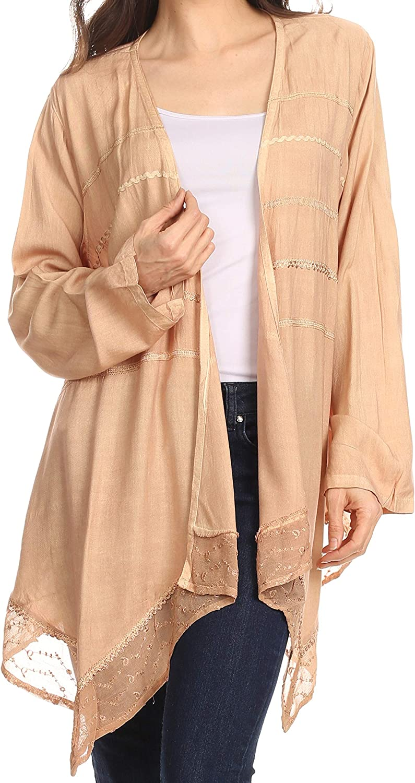 Sakkas Isenia Cardigan Open Front Kimono Long Sleeve Embroidered Top Blouse Lace