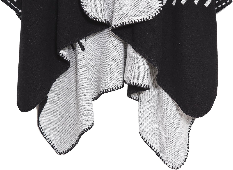 Chales y abrigos delanteros c/álidos abiertos para mujer Chamarra elegante ponchos Cape Poncho