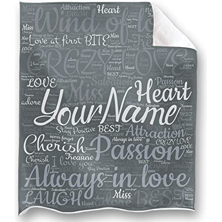 Personalized Name I Love You Throw Blanket To Your Partner I Love You To Heaven And Earth Gift You Are My Only Sunshine Loong Design Gray 50x60inch Kitchen Dining