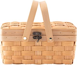 Vintiquewise QI003505.S Small Woodchip Picnic Basket with Cover and Folding Handl, Brown