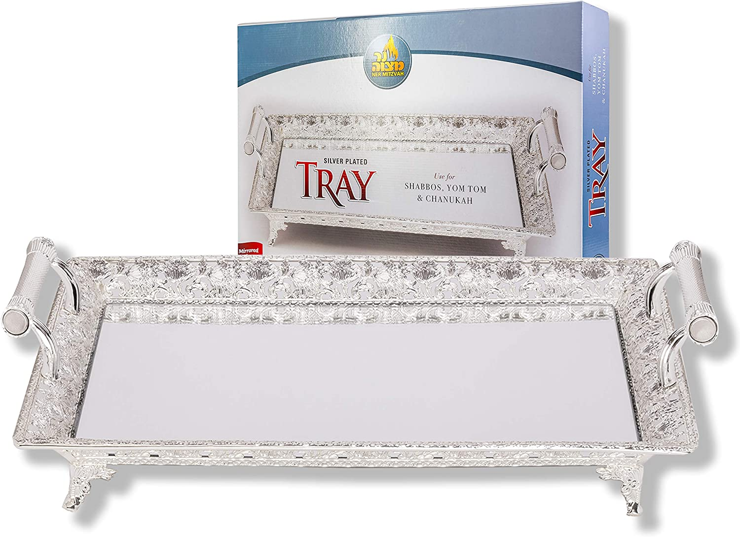 Menorah Max 86% OFF Silver Plated Tray Special price for a limited time - Drip Hanukkah for Shabbo Use