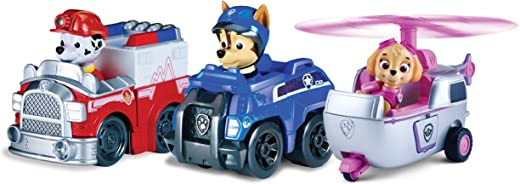 Spin Master 6024761 - Paw Patrol Rescue Racers - 3-er Pack - Version 3 (Marshall, Chase, Skye)