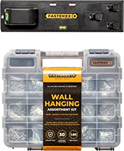 Fastenex 1650pc Premium Picture Hanging Kit and Picture Hanging Tool with Nails for Hanging Pictures and Mounting Screws Assortment, Hanging Hooks and Heavy Duty Wall Anchors, Mirror Hanging Hardware
