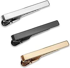 Puentes Denver 3 Pc Mens Tie Bar Pinch Clip Set Skinny Ties 1.5 Inch, Silver, Black, Gold Tone Gift Box