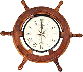 Noor Handicrafts Nautical Wooden Ship Wheel with Ship's Time Captain's Clock - Pirate Home Decorative Clock (Light Green Dial Face) (30 x 30 x 2.5 inches)