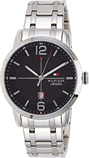 Tommy Hilfiger Men's Black Dial Stainless Steel Band Watch - 1791217