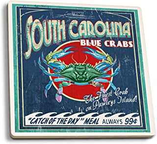 Lantern Press Pawleys Island, South Carolina - Blue Crabs Vintage Sign (Set of 4 Ceramic Coasters - Cork-Backed, Absorbent)