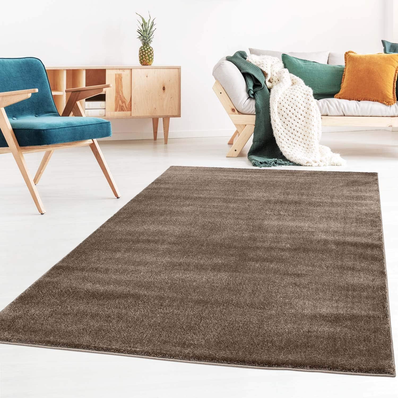Taracarpet Kurzflor Designer Uni Teppich Extra Weich Fürs