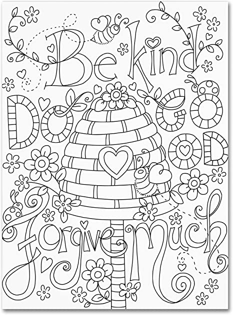 Amazon.com: Be Kind Coloring Page By Jennifer Nilsson, 18x24-Inch Canvas  Wall Art: Posters & Prints