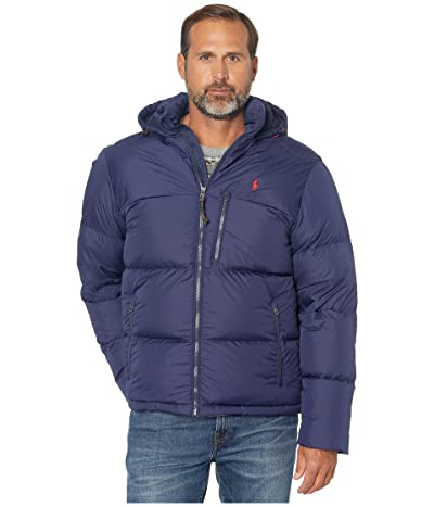 Polo Ralph Lauren Puffer Down Jacket with Sherpa Lined Hoodie (Cruise Navy) Men