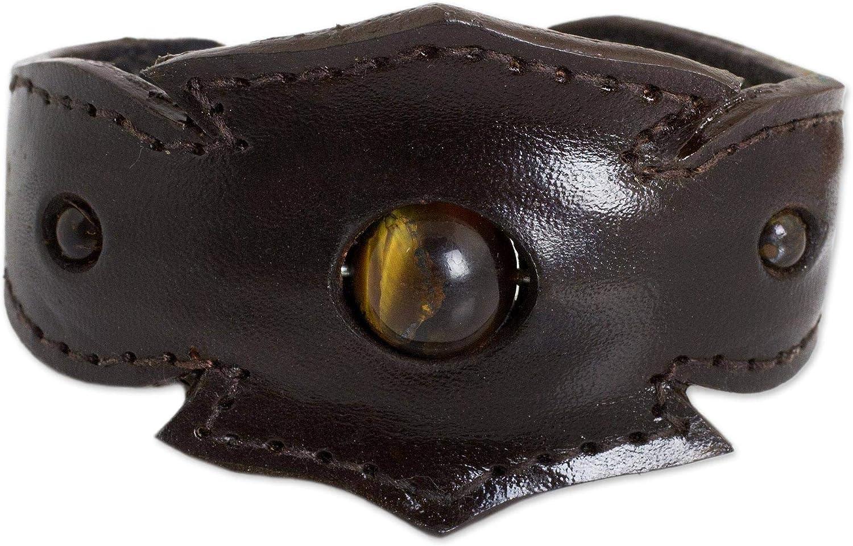 NOVICA Tiger's Eye Stainless Steel Leather Cuff Bracelet 'Fierce'