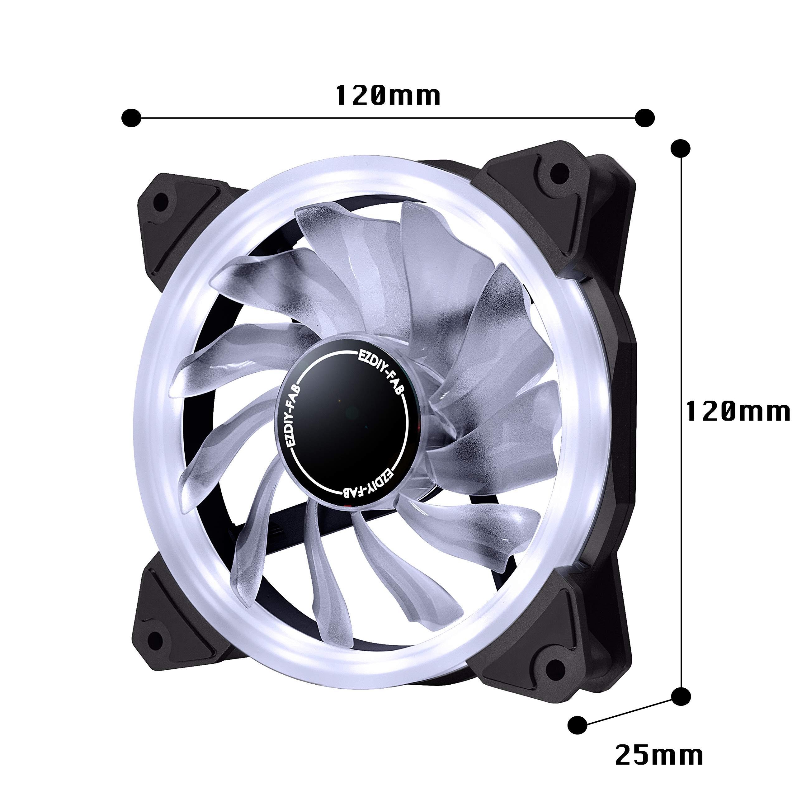 EZDIY-FAB Ventilador de Anillo LED de 120mm,Ventilador de Caja LED,Refrigerador de CPU y Radiadores,Blanco 3 Pin 3 Pack: Amazon.es: Electrónica