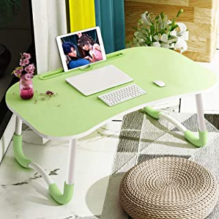 BZN Foldable Non-slip Laptop Desk Table Stand with Card Slot (Color : Green)
