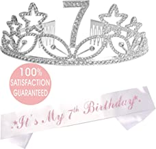 7th Birthday Gifts for Girl, 7th Birthday Tiara and Sash, Happy 7th Birthday Party Supplies, It's My 7th Birthday White Glitter Satin Sash and Crown for 7th Birthday Party Supplies and Decorations