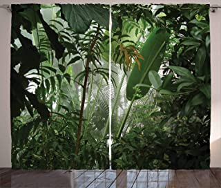 Ambesonne Rainforest Curtains, Tropical Rainforest Preservation Humidity Palm Tree Wild Environment Misty Nature, Living Room Bedroom Window Drapes 2 Panel Set, 108