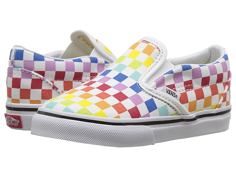 Vans Kids Classic Slip-On (Infant/Toddler) ((Checkerboard) Rainbow/True White) Girls Shoes