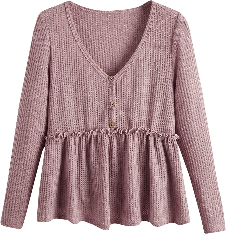 Romwe Women's Plus Waffle Knit Long Sleeve V Neck Ruffle Hem Babydoll Tops T Shirts