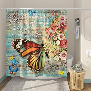 DESIHOM Inspirational Butterfly Shower Curtain 72x72 Inch, Rustic Wood Shower Curtain Colorful Shower Curtain Whith Quote Pol