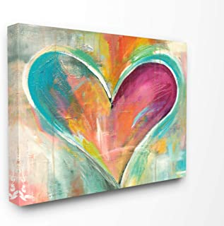 Stupell Industries Abstract Colorful Textural Heart Painting Oversized Stretched Canvas Wall Art, 24 x 1.5 x 30, Multi-Color