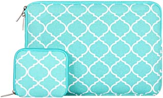 MOSISO Laptop Sleeve Bag Only Compatible MacBook 12-Inch with Retina Display 2017/2016/2015 Release with Small Case, Quatrefoil Style Canvas Fabric Protective Carrying Cover, Hot Blue