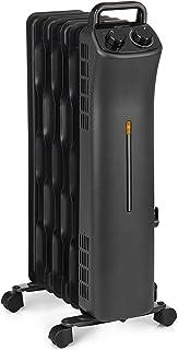 AmazonBasics Portable Radiator Heater with 7 Wavy Fins, Manual Control, Black, 1500W