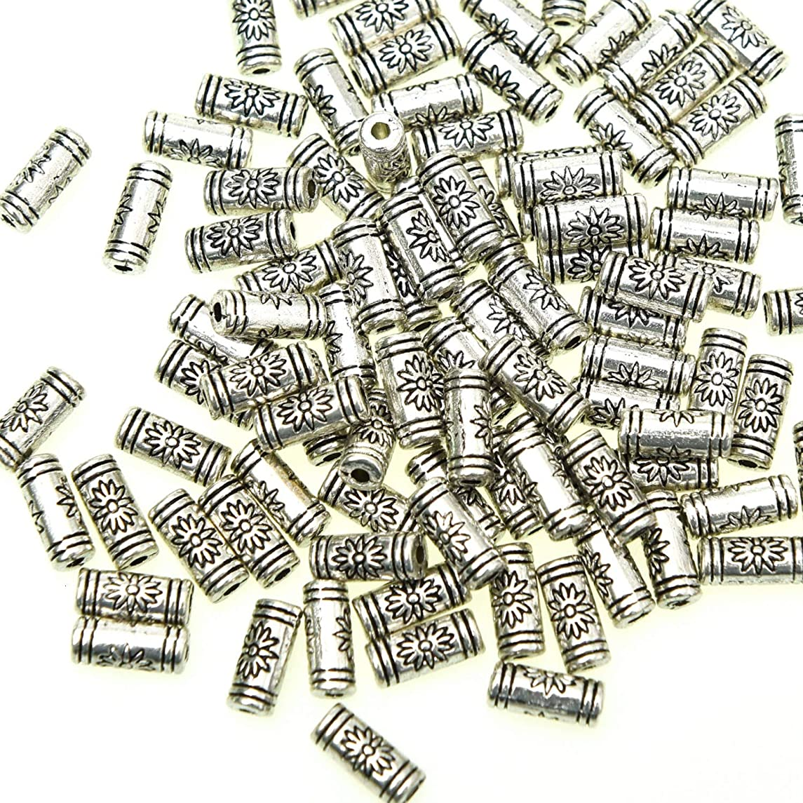 Monrocco 100Pcs Antique Silver Alloy Tube Beads Spacer Beads Charms Tibetan Style Beads Charms - Lead Free & Nickel Free