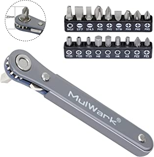MulWark 20pc 1/4 Ultra Low Profile Mini Ratchet Wrench Close Quarters Screwdriver Set with High Torque - Right Angle EDC Tool with 90 Degree Mini Offset Reversible Drive Handle & Multi Hex Bits Set
