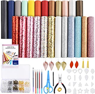 Caydo 24 Pieces Leather Earring Making Kit Include Instructions, 4 Kinds of Faux Leather Sheet and Tools for Earrings Craft Making Supplies, 6.3 '' x 8.3 ''