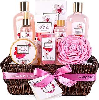 Coffret cadeau femme, 10 PCS Coffret de Bain au Parfum de Fleurs de Cerisier, comprend Sels de Bain, Bombes de Bain, Gel D...