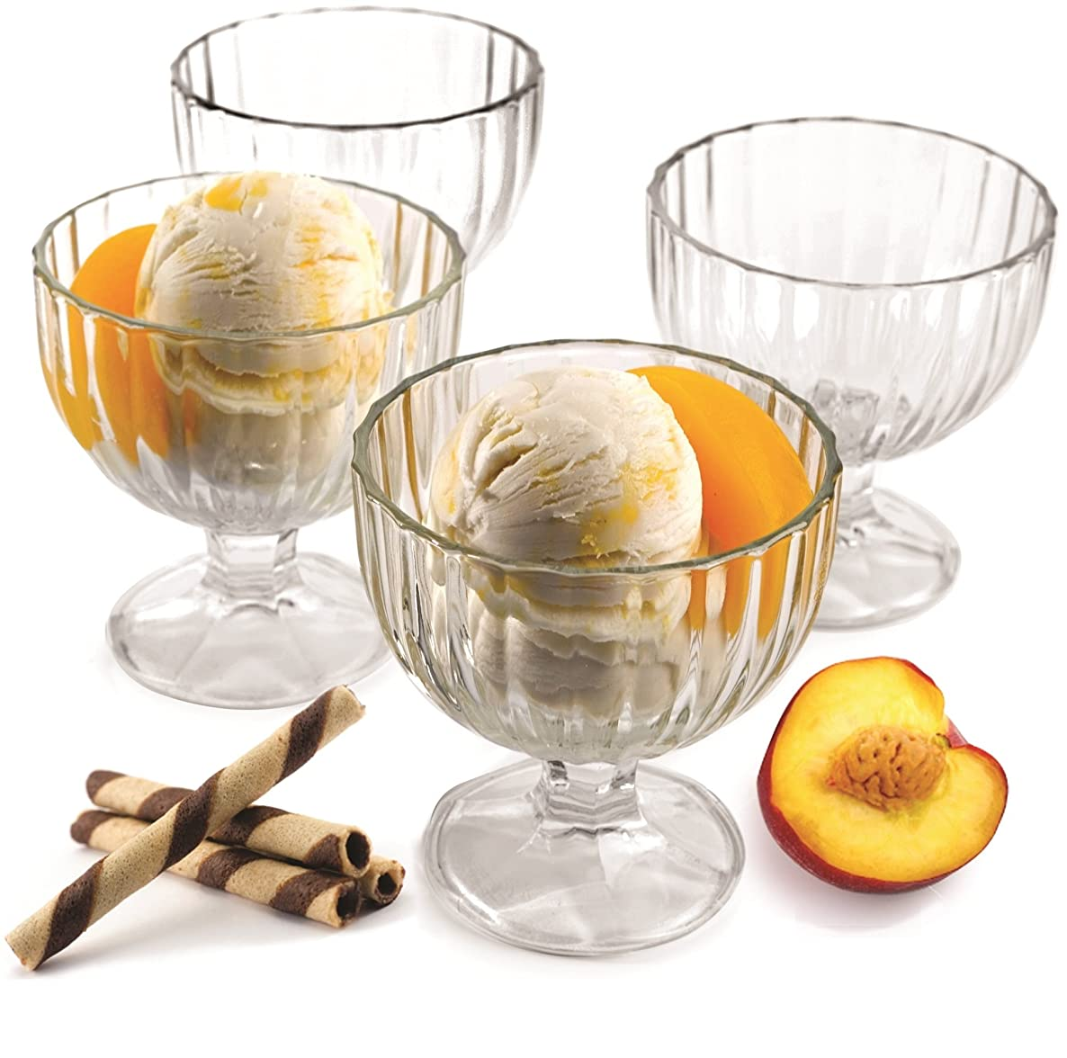 Circleware Passion Footed Glass Ice Cream Dessert Dish Bowl, Set of 4, 9 Ounce Each, Limited Edition Glassware Serveware