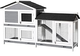 MUPATER Raised Rabbit Hutch Bunny Cage for Outdoor and Indoor, Wooden Guinea Pig House with Run, Ramp and Removable Trays,...