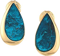 Green Patina and Gold Stud Earrings